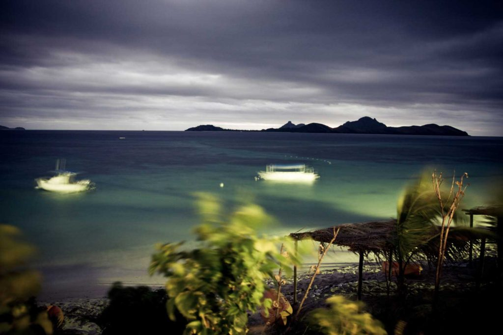 Blurry, moody shot over Mamanuca Islands from Tokoriki Island