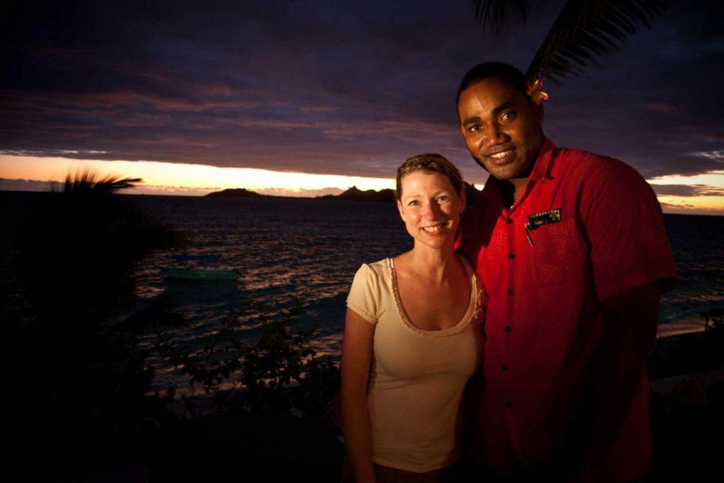 Diane with our waiter on Tokoriki Island