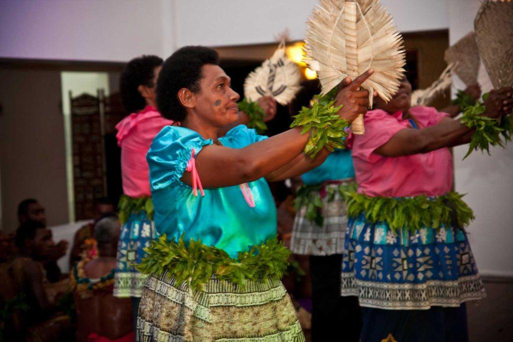 Fijian women entertain on Tokoriki Island