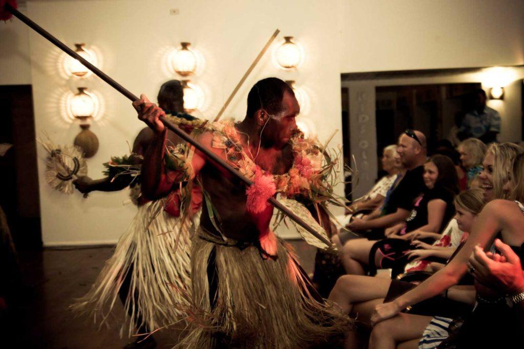 Fijian warriors entertain at Amanuca on Tokoriki Island