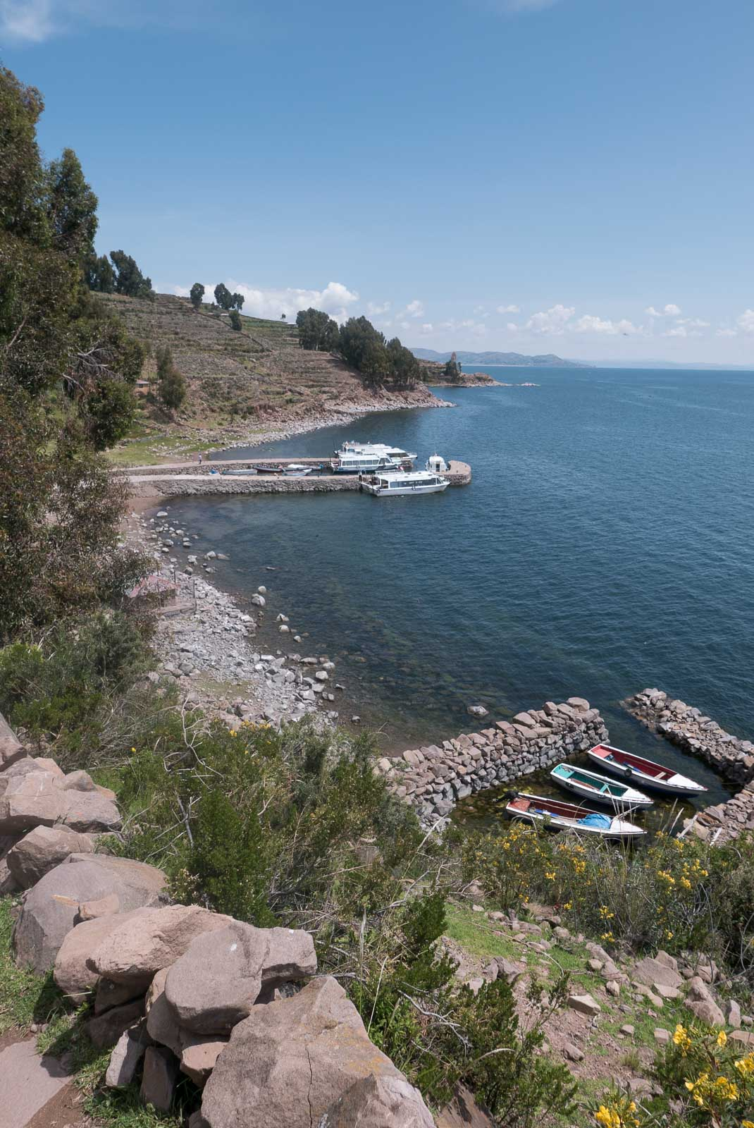 Views over Lake Titicaca from Taquile Island.