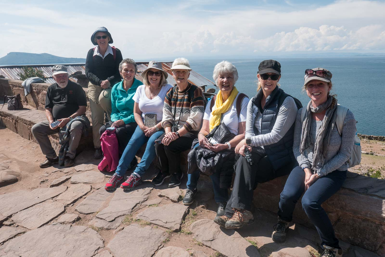 My lovely Two's a Crowd tour group on Taquile Island overlooking Lake Titicaca.