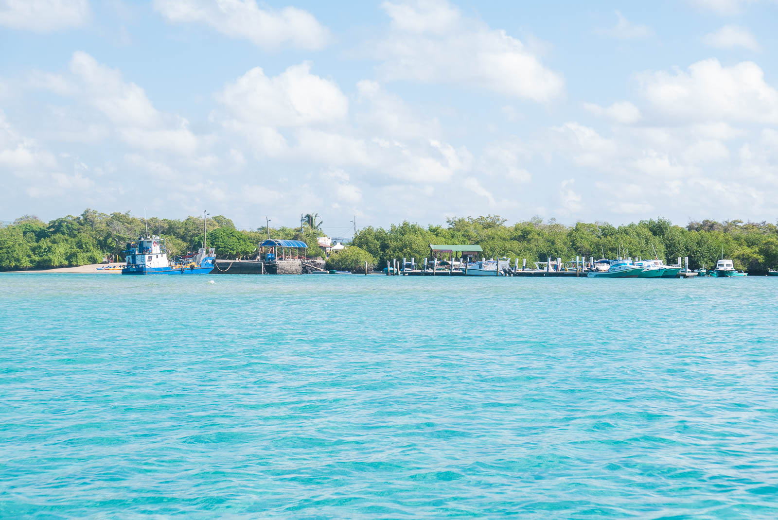 The amazing turquoise waters of Galapagos Islands with a harbour in the background.
