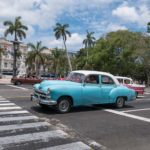 Old timer cars cruising the streets of Havana, Cuba.