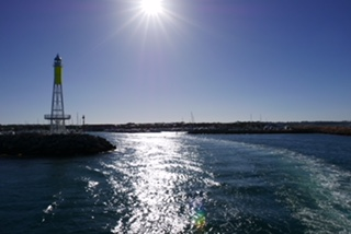 Leaving Hillary's Harbour in Perth for Rottnest Island.