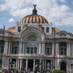 The facade of the Palacio de Bellas Artes building in Mexico City.