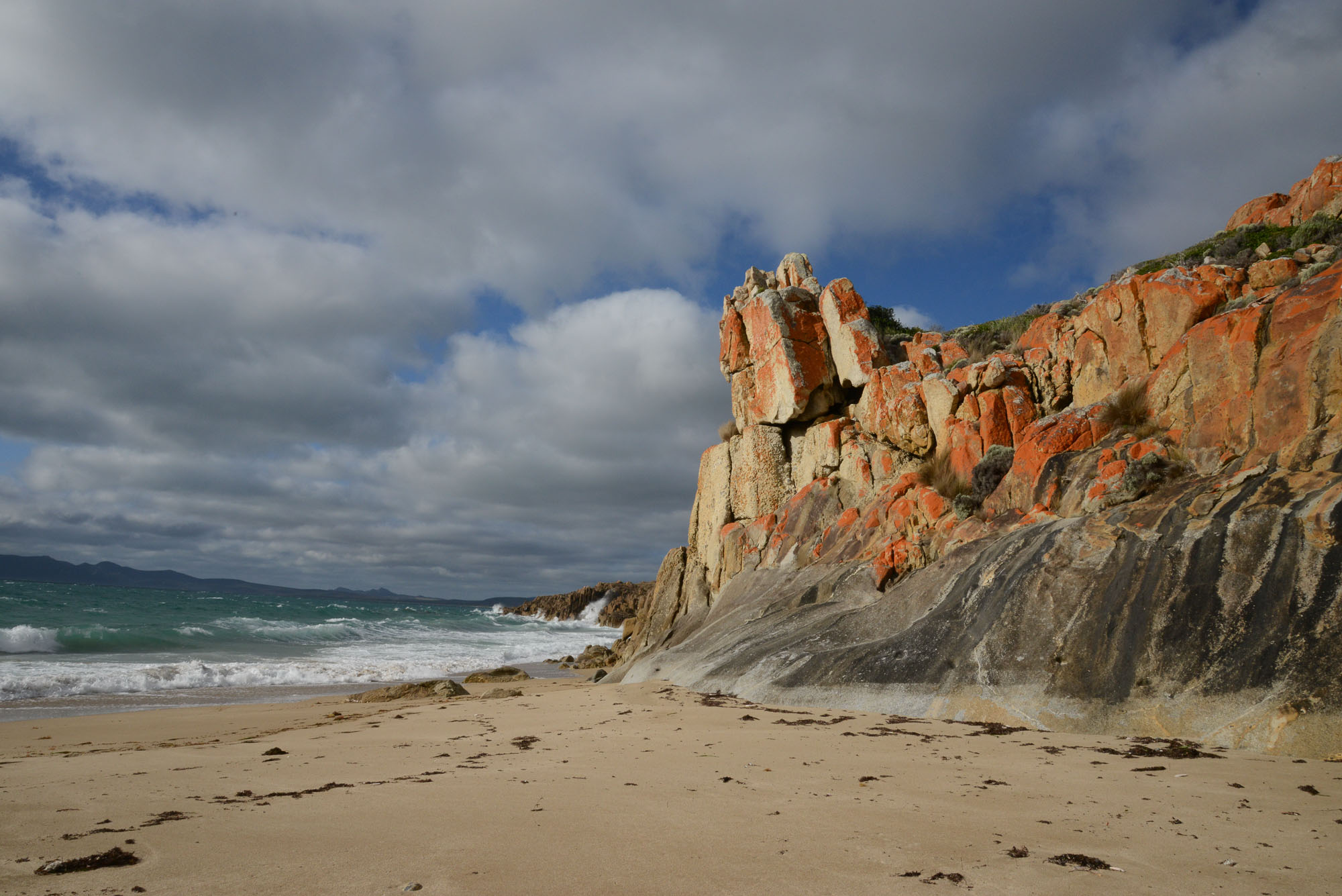 Rocks on the beach on Flinders Island.