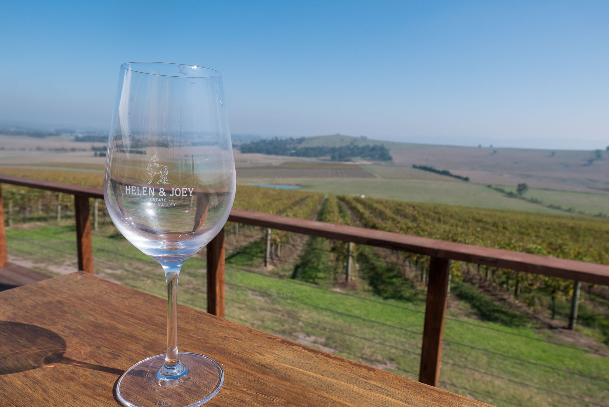 A single glass, vineyards - wine tasting in the Yarra Valley