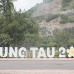 A sign for Vung Tau, 2018 on the road side in Vung Tau, Vietnam.